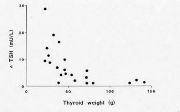 Figure 17-1. Relationship of TSH (after 400 mg TRH i.v.) and thyroid weight (g) in 22 women with clinically euthyroid multinodular goiter (with permission ref. 12)